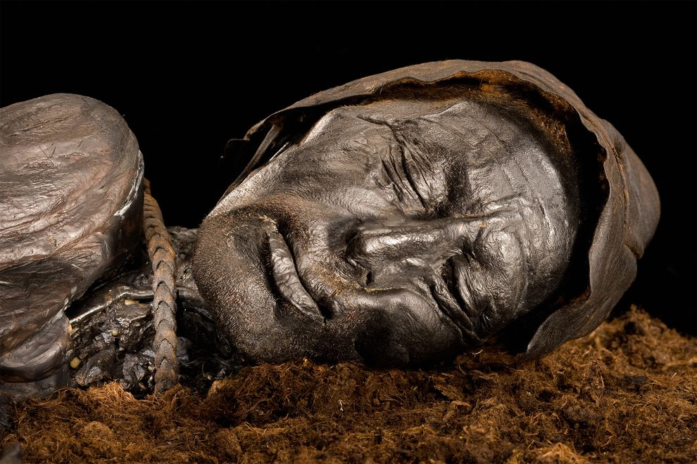 Tollund Man, who was hanged with a leather cord and cast into a Danish bog, is housed at Denmark's Silkeborg Museum. PHOTOGRAPH BY ROBERT CLARK, NATIONAL GEOGRAPHIC
