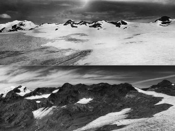 Going, going … As a whole, the world's glaciers—such as Italy's Careser Glacier, seen here in August 1933 (top) and August 2012 (bottom)—have lost ice for the last 23 years in a row. COURTESY OF LUCA CARTURAN/UNIVERSITY OF PADOVA