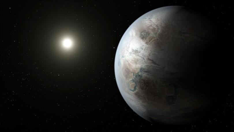 image of an alien world near a distant sun.